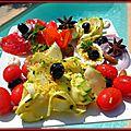 Oeufs mimosas, anchoîade et ses corolles de courgettes