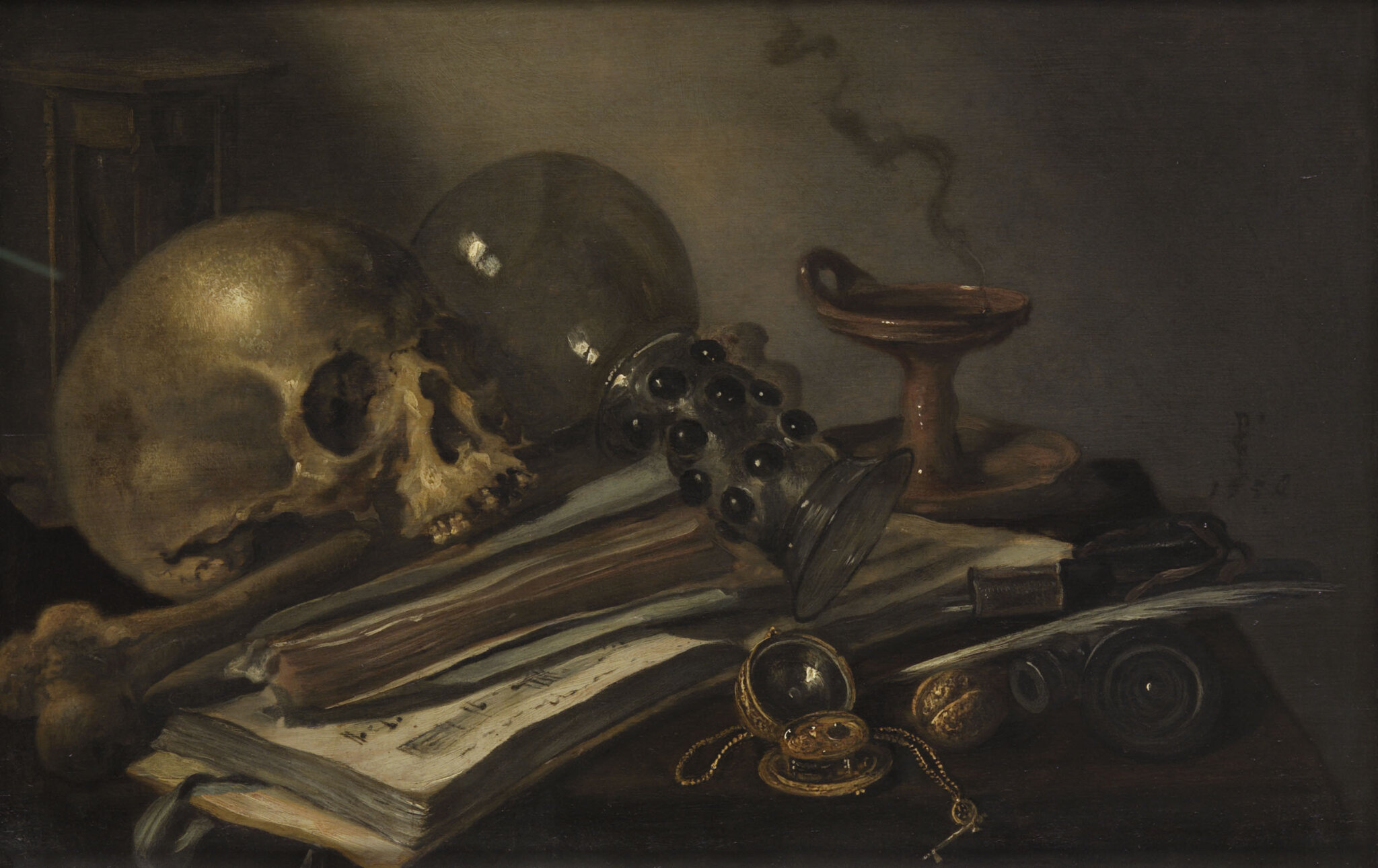 Pieter Claesz, Vanitas, Dated 1656, Oil on oak table, 39.5 cm × 60.5 cm, Courtesy KHM-Museumsverband. ------WebKitFormBoundaryyJpH1sqQv1PgeP6g Content-Disposition: form-data; name=