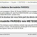 Pardieu Bernadette_Décès_avis_2012