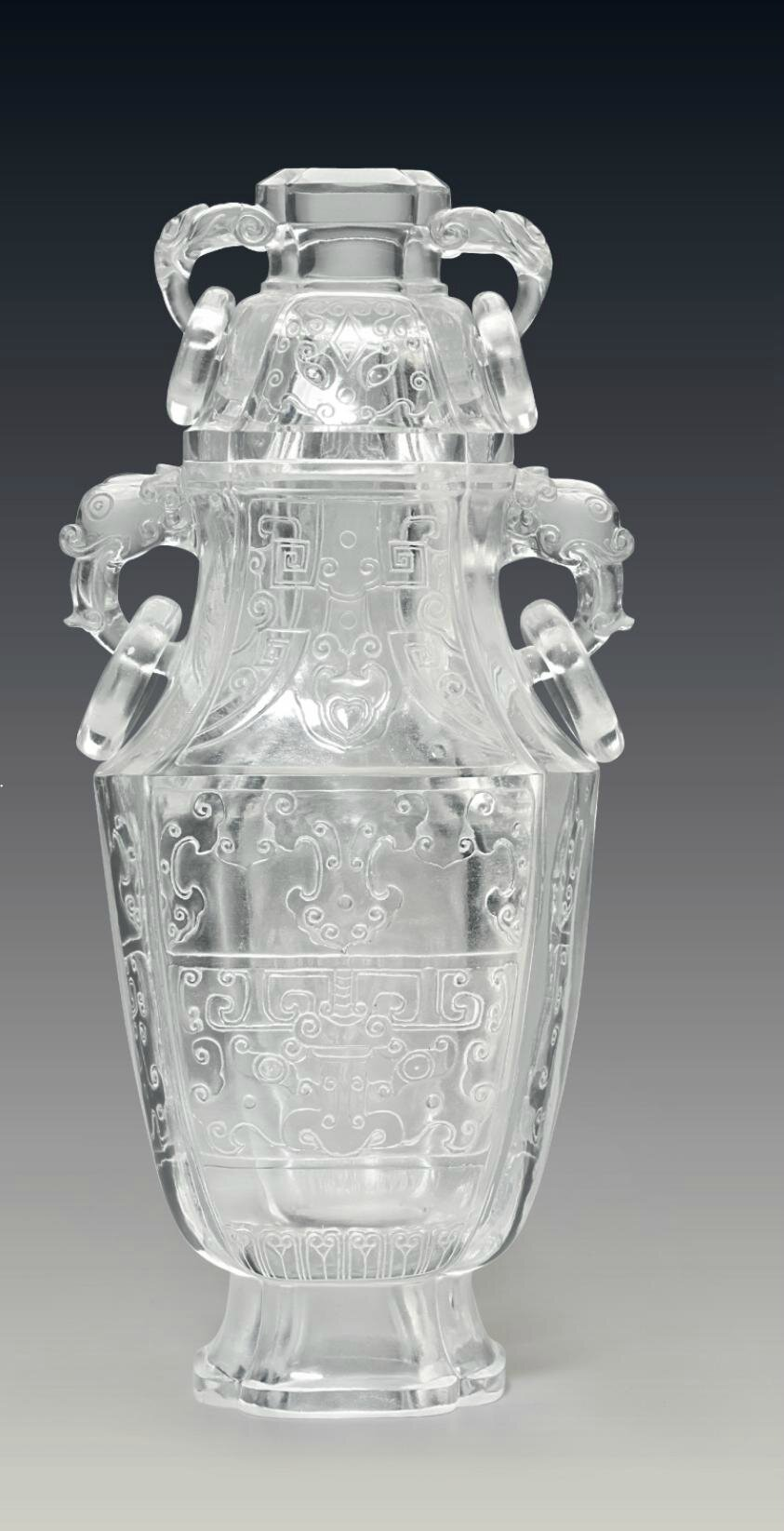 A very rare and unusual large archaistic 'imitation crystal' glass vase and cover, 18th century