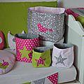 pochons rangement réversibles étoiles oiseaux rose poudré rose fuchsia soutenu vert pomme anis gris - décoration chambre bébé rose poudré vert anis pomme gris fuchsia