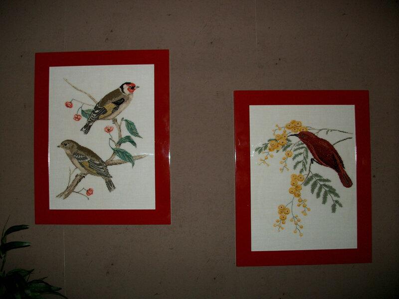 photo oiseaux brodés
