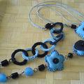 collier bleu et noir