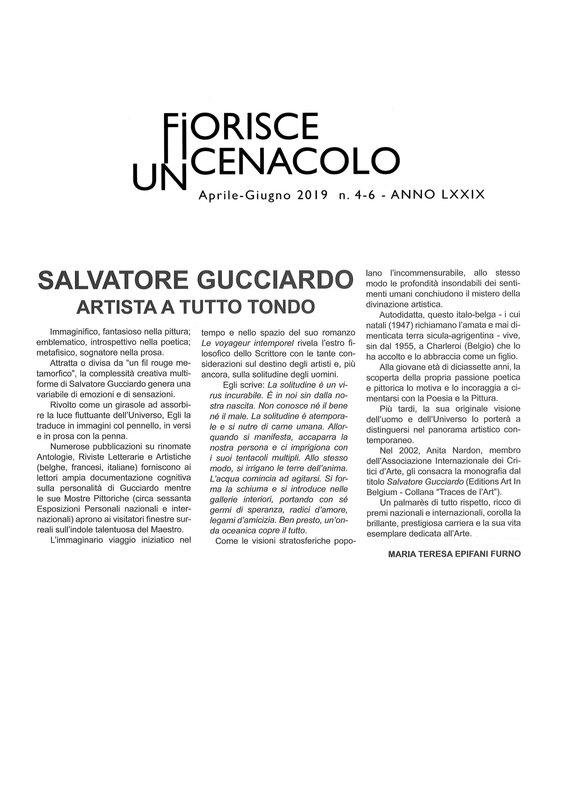 FIORISCE UN CENACOLO n° 4 - 6 2019 - article de Maria Teresa Epifani Furno sur S