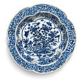 A blue and white lobed basin, wanli mark and period (1573-1620)