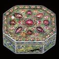 Mughal ruby-set enamelled gold pan-box, probably lucknow, early 19th century