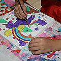 Peinture sur chassis entoilé licorne et dinosaure!