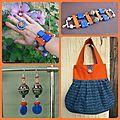 parure orange et bleu (P88)