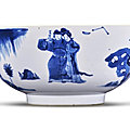 A blue and white 'figural' bowl, qing dynasty, kangxi period (1662-1722)