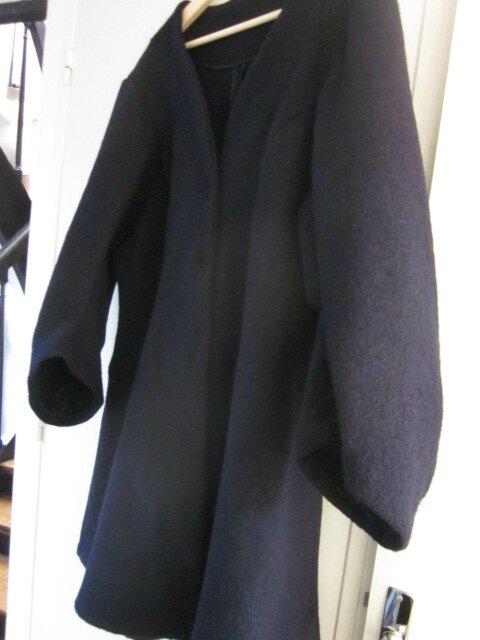 Redingote EDMONDE en laine bouillie MARINE - taille 56 (9)