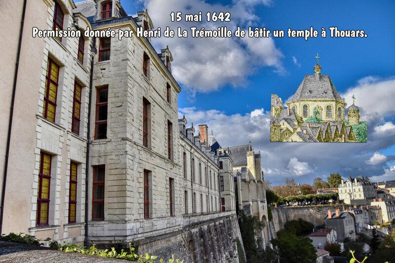 15 mai 1642, Permission donnée par Henri de La Trémoille de bâtir un temple à Thouars