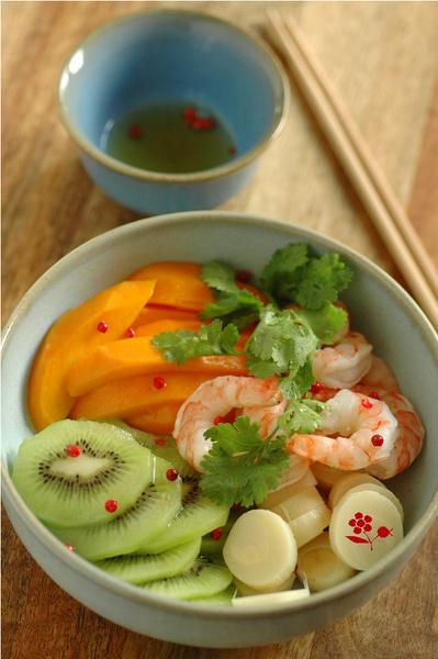Salade mangue, kiwi, coeur de palmier, crevette_1