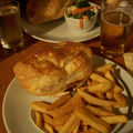 Steak and chedar pie and fish and chips and num num