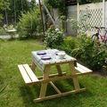 L'espace des enfants sur la table que Papy a construit !!