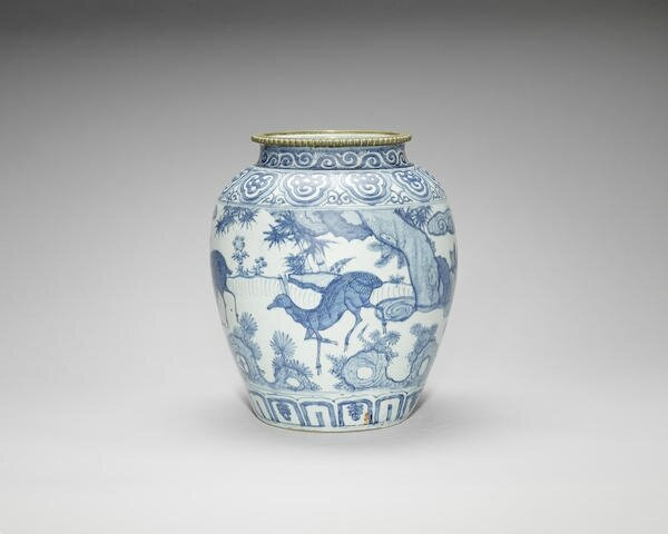 A large bronze-mounted blue and white jar, Wanli period (1573-1619)