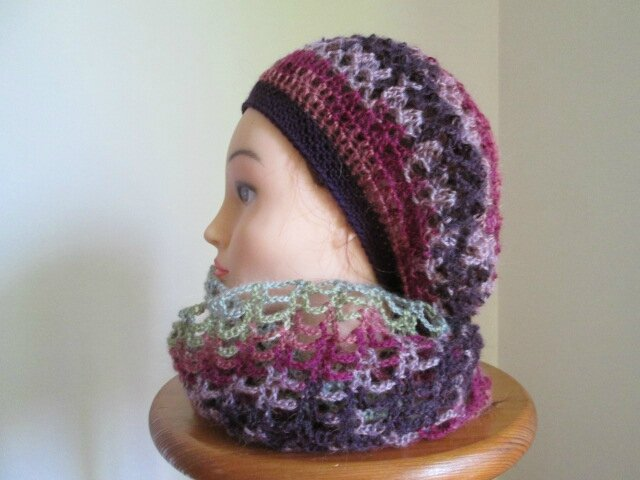 Beret et snood en angora active (7)