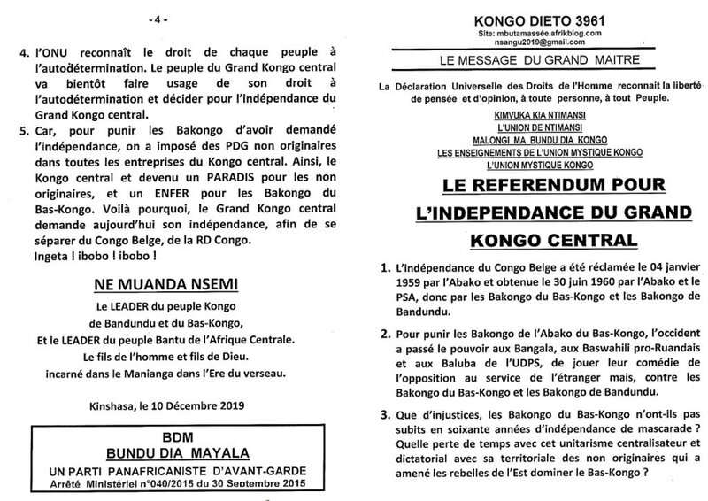 LE REFERENDUM POUR L'INDEPENDANCE DU GRAND KONGO CENTRAL a