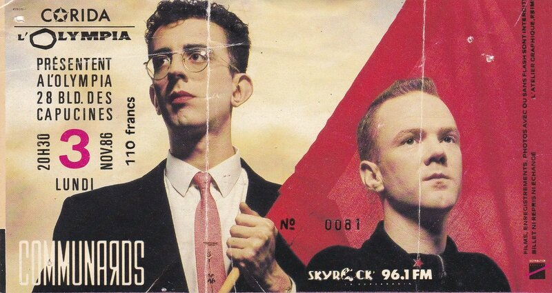The Communards, L'Olympia, november 1986 (ticket)