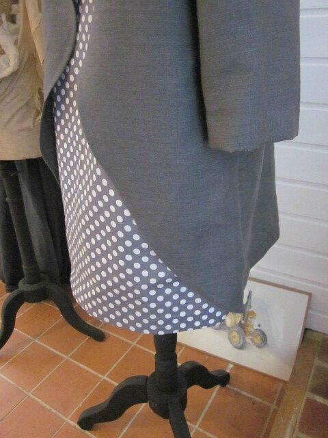 Tunique LEONTINE en lin gris et coton gris à pois blanc (13)