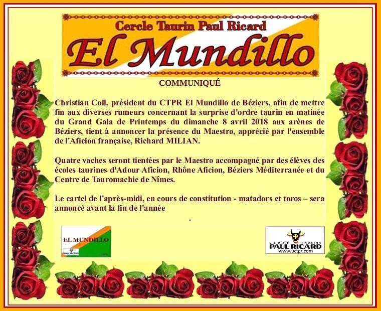 COMMUNIQUÉ 2 gala 2018 EL MUNDILLO