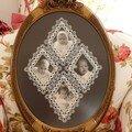 Pèle-mêle dentelle Cluny fait par Valérie Doare, modèle N.hubert