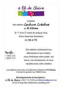 Affiche Ateliers Couture Créative