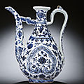 An extremely rare early ming blue and white ewer, yongle period (1403-1425)