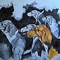 poitevins du vautrait de Banassat huile sur toile 40x50