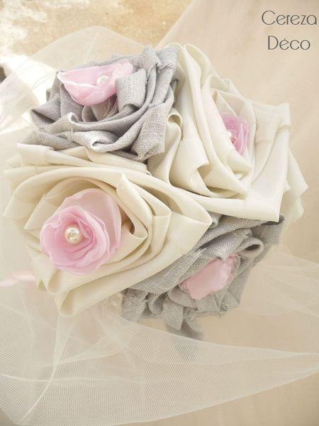 bouquet mariage original ivoire gris rose tulle tissu lin cereza deco 7