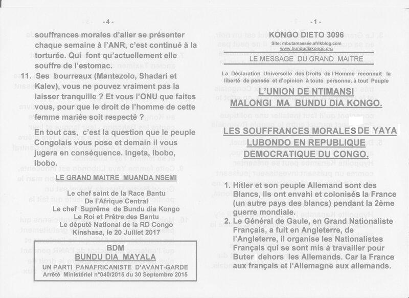 LES SOUFFRANCES MORALES DE YAYA LUBONDO EN REPUBLIQUE DEMOCRATIQUE DU CONGO a