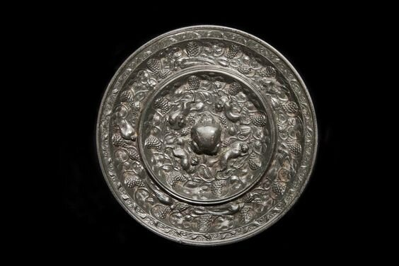 Animal and grapevine mirror, Tang dynasty (AD 618-906)