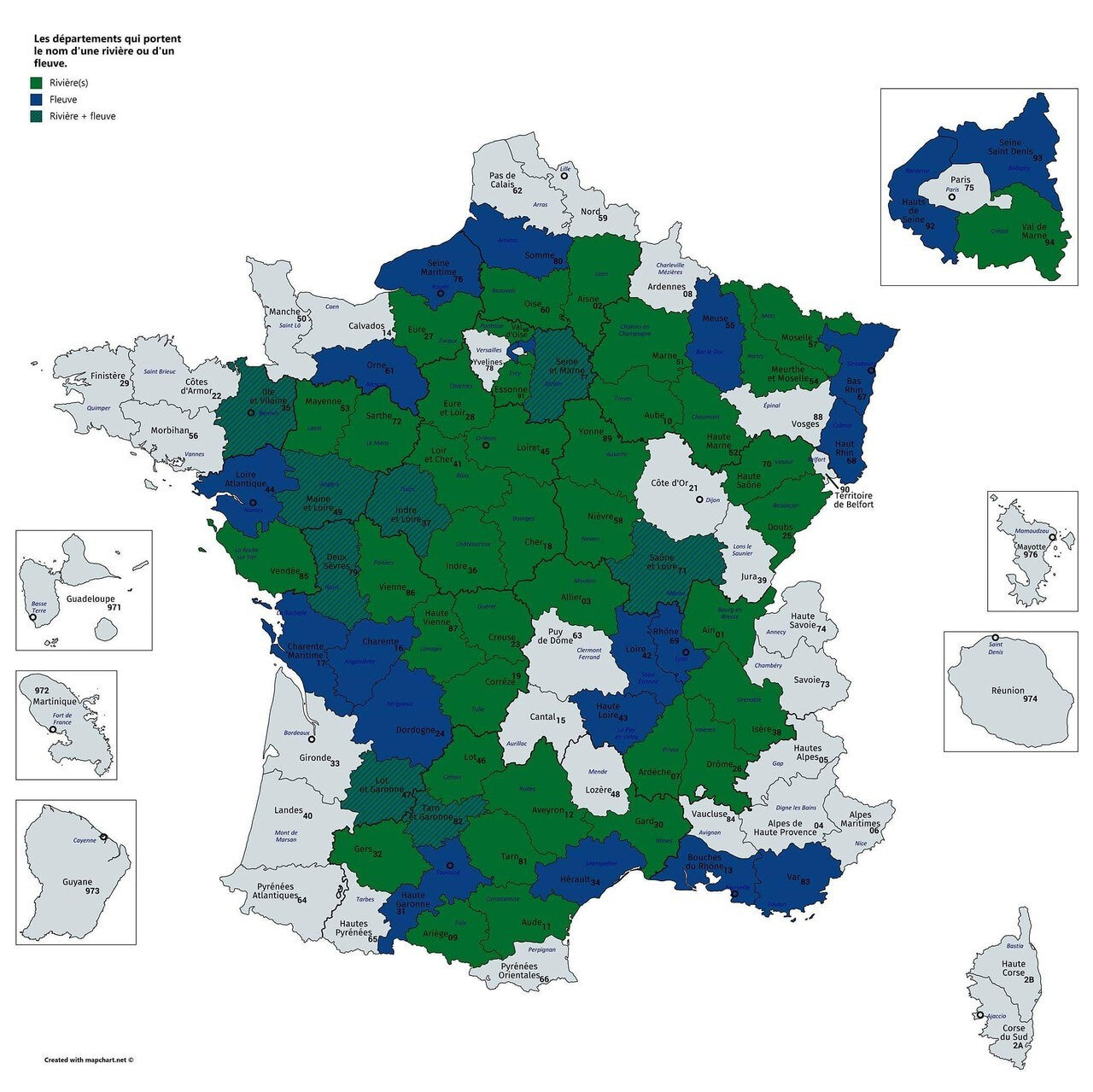 Départements of France that are named after rivers