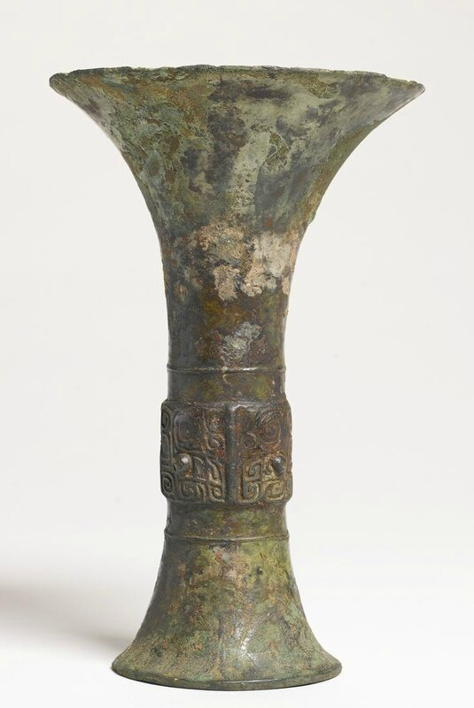A bronze ritual wine vessel (gu), Late Shang dynasty, 13th-11th century BC2