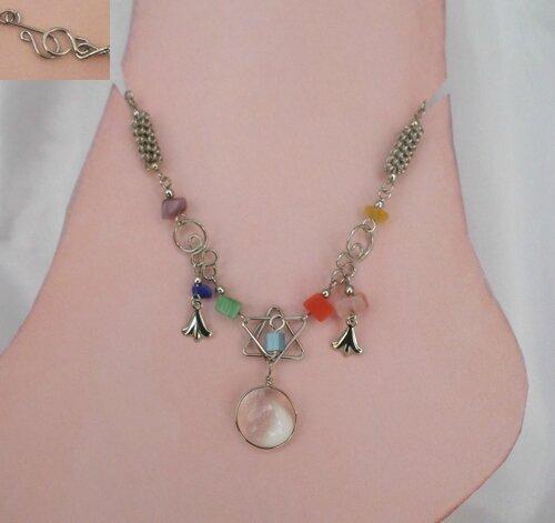 Bracelet de Cheville Chevillière Estrella Perles Verre Murano Blanc Pierre de roches Artisanat du Pérou
