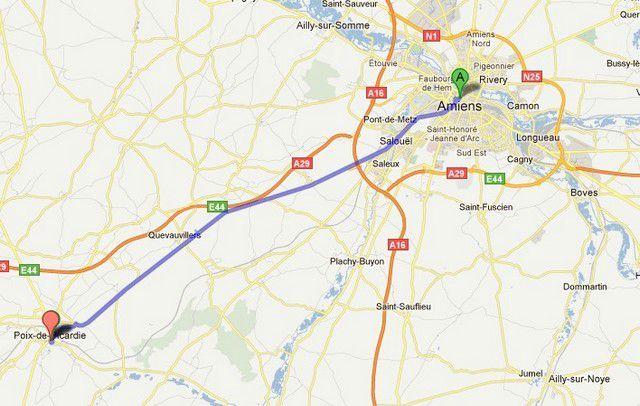 a Carte Amiens - Poix de Picardie