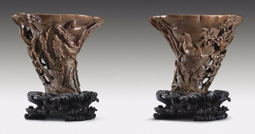 A rare large rhinoceros horn cup, 17th-18th century