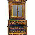 A chinese export black and gilt-lacquered bureau-cabinet, circa 1730 - 40, probably for the north european market