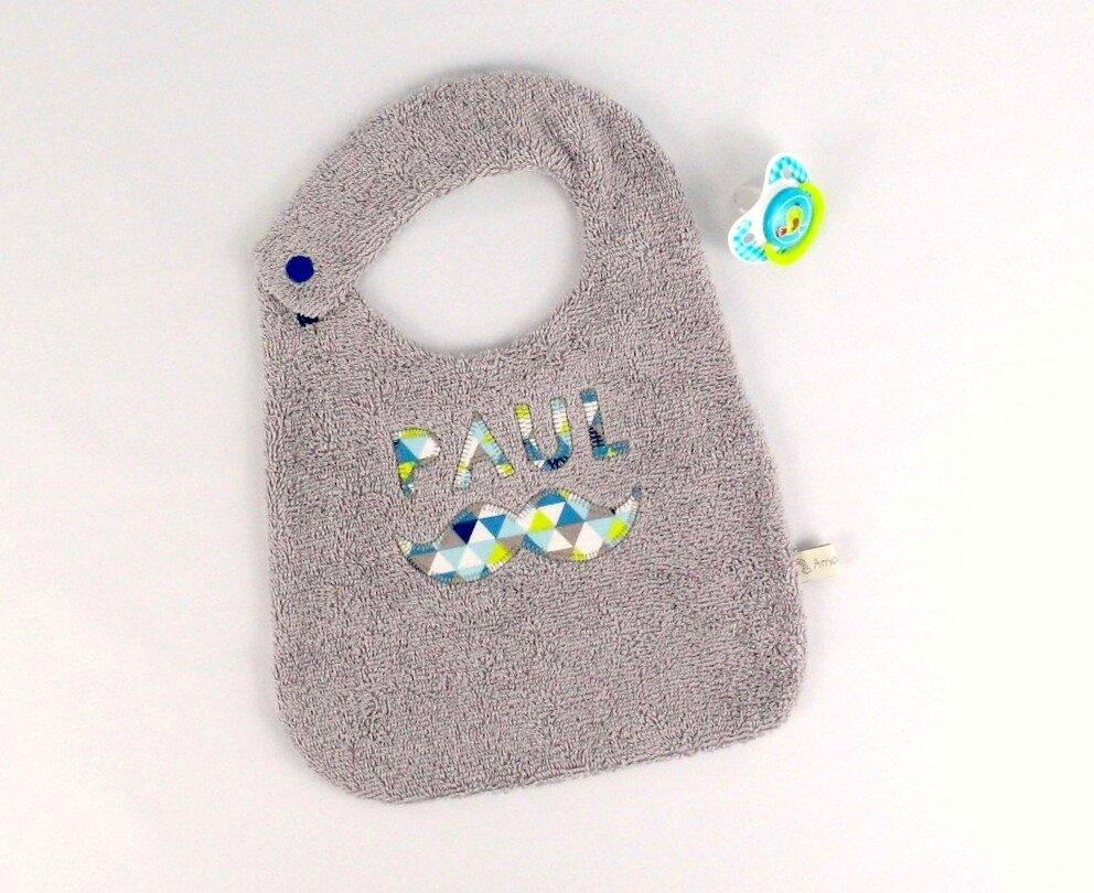 Bavoir personnalisé prénom brodé moustache bleu gris marine vert anis cadeau Noël bébé personnalisable personalized name bib christmas gift baby