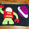 Trousse en tissu robot dans l'espace