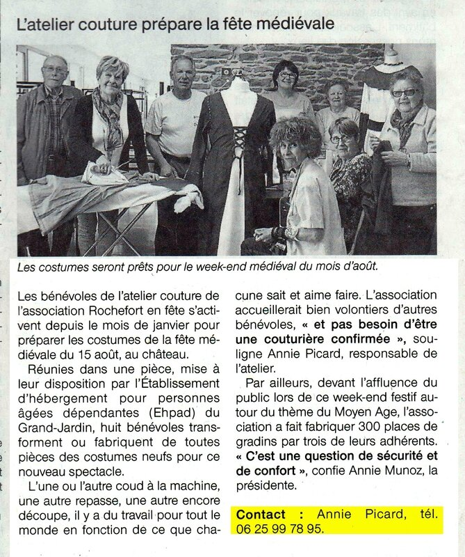 Ouest France 11 mai 2016 Atelier couture
