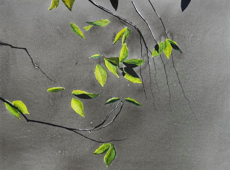 L'irréductible altérité de la nature, encre de Chine et aquarelle, 46 x 37 cm, mars 2020