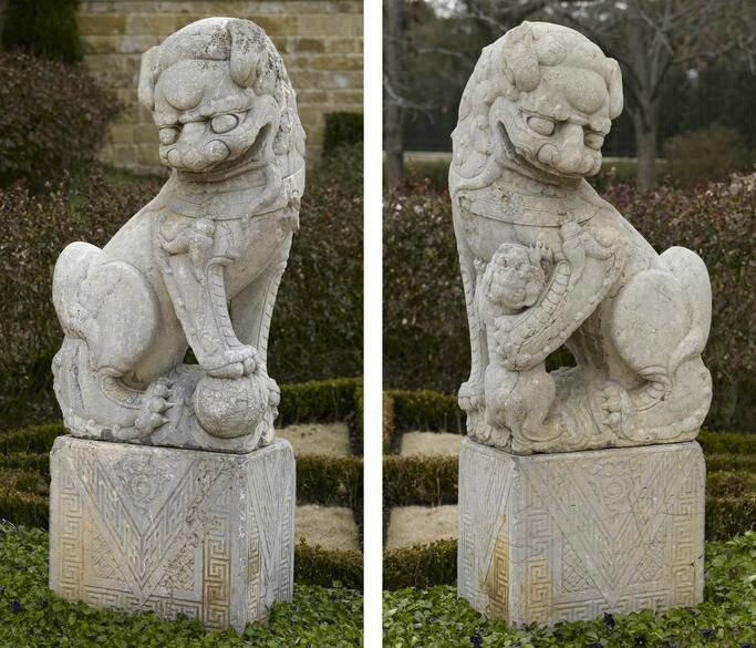 Pair of Stone Buddhistic Lions (Fu Dogs)