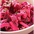 Salade de betteraves et pommes vertes, vinaigrette crémeuse aux framboises