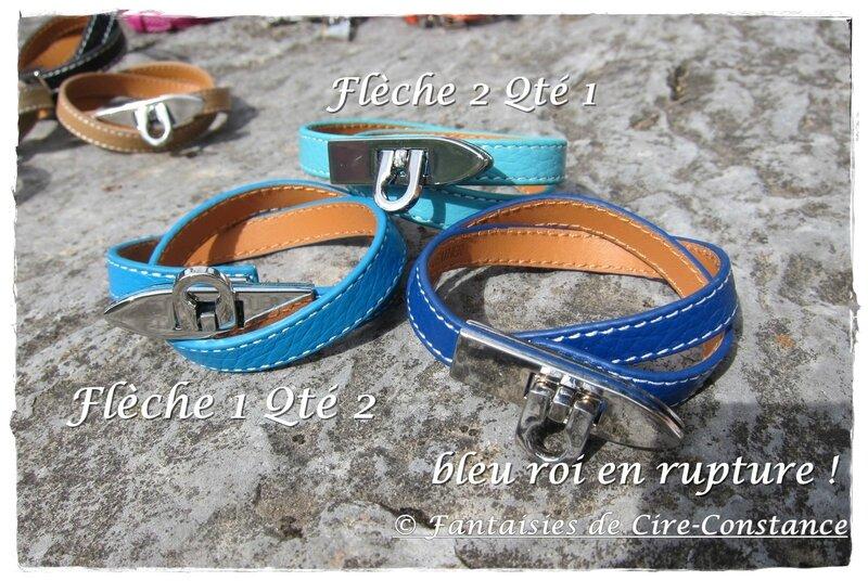Bracelets cuir double tour flèche ciel-turquoise 16 euros