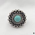 Bague ronde ciselée azura perle turquoise argent du tibet ajustable