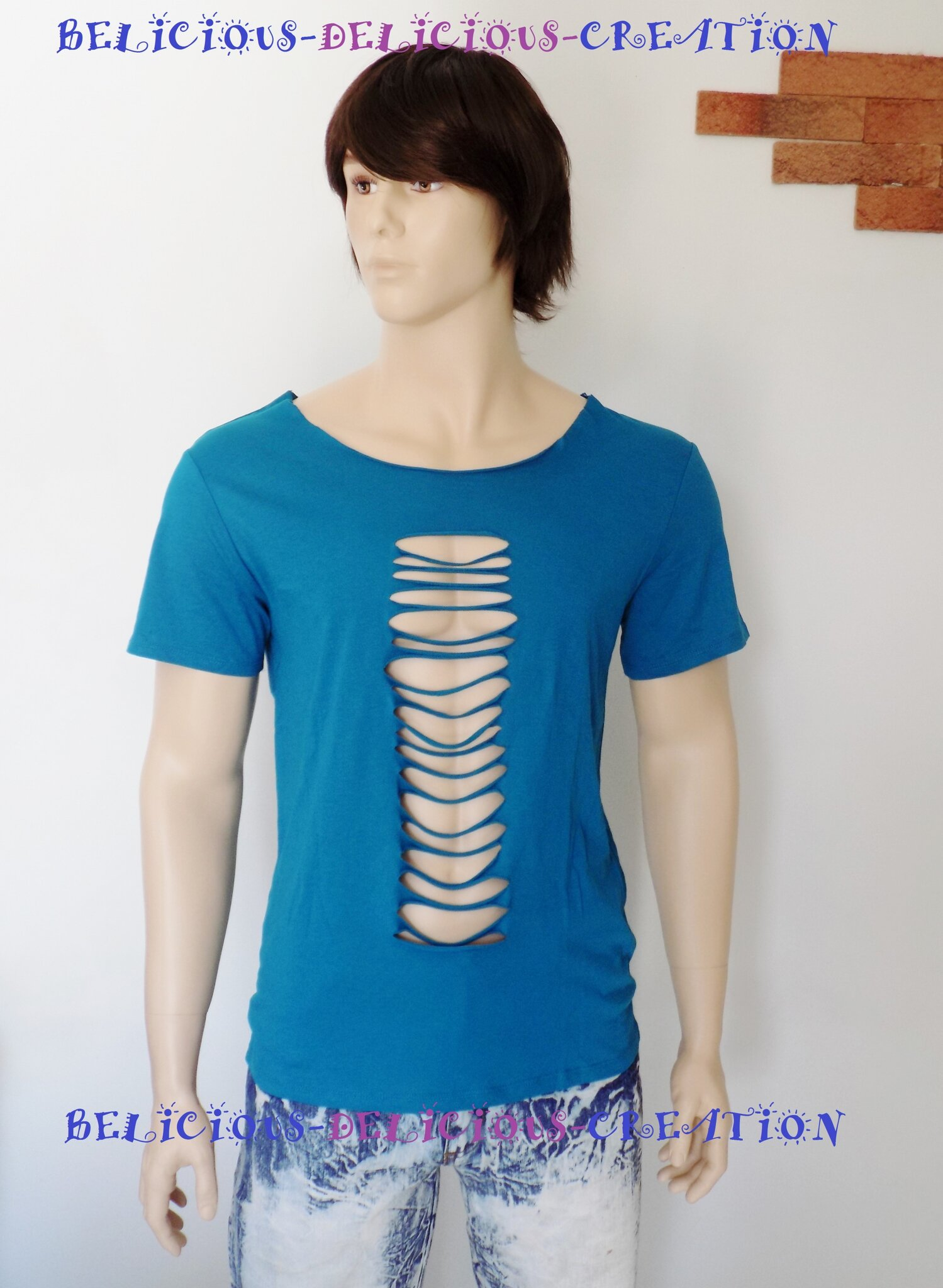 t-shirt for men blue slashed c