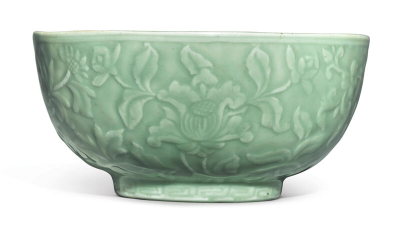 A carved 'Longquan' celadon-glazed 'Floral' bowl, Ming dynasty, 15th century