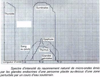 Spectre intensité des glandes sur cours eau