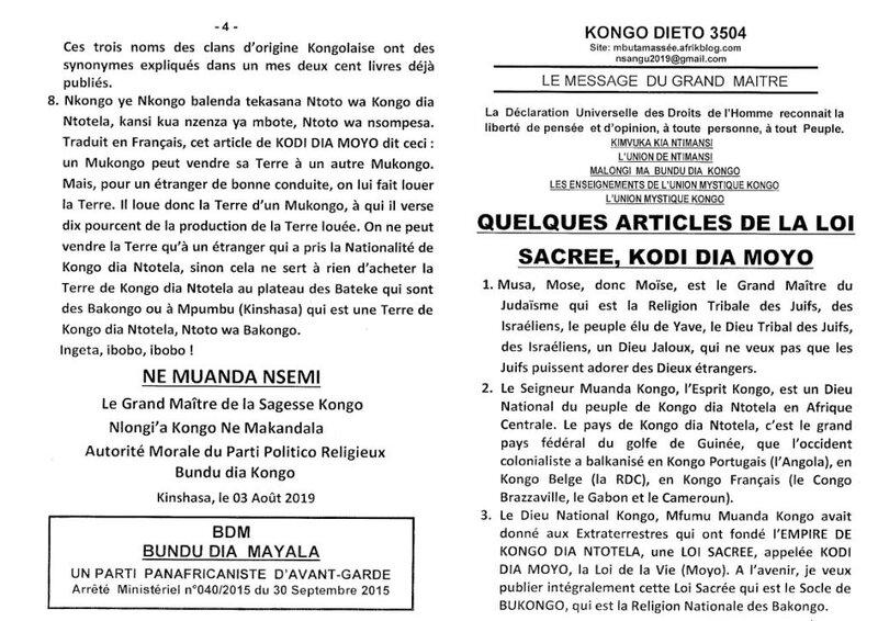 QUELQUES ARTICLES DE LA LOI SACREE KODI DIA MOYO a