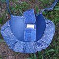 besace bleue plissée portable